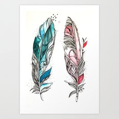 You & Me Feathers Art Print