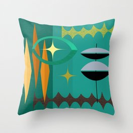 Watching The Watchers Mid Century Modern Geometric Abstract Throw Pillow