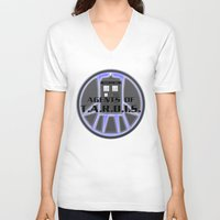 agents of shield V-neck T-shirts featuring Agents of TARDIS Doctor Who Agents of Shield Mash Up by Whimsy and Nonsense