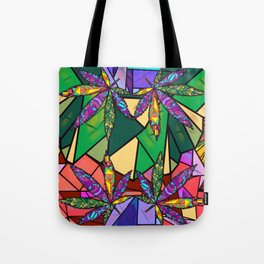 Stained Glass Pot Leaves Tote Bag