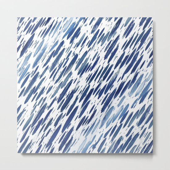 Boho Blue Brushstroke Metal Print