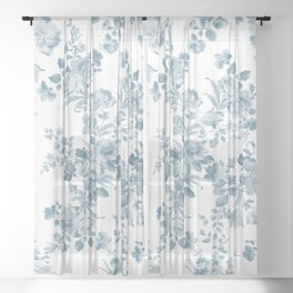 Vintage blue white bohemian elegant floral Sheer Curtain