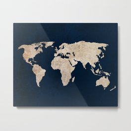 Inverted Rustic World Map Metal Print