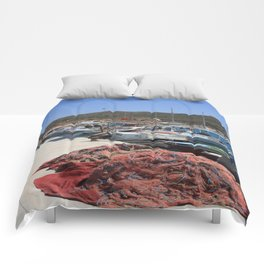 Red Fishing Net and Fishing Boats in Datca Comforters