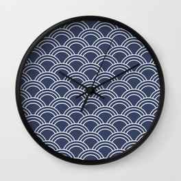 Blue & White Japanese Seigaiha Wave  Wall Clock
