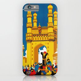 Vintage Hyderabad India Travel Poster iPhone Case