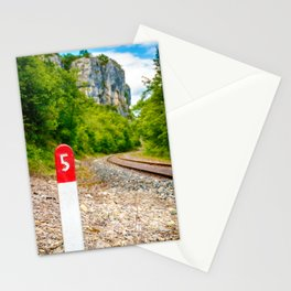 Railway pole sign close-up with number five along railroad track Stationery Cards