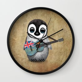 Baby Penguin Playing Fiji Flag Acoustic Guitar Wall Clock