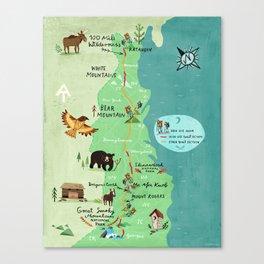 Appalachian Trail Hiking Map Canvas Print