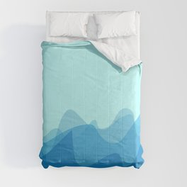 Wave pattern nature abstraction (blue) Comforters