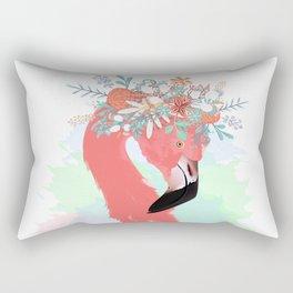 Pink flamingo with flowers Rectangular Pillow