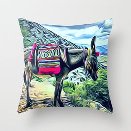 Mexican Burro Throw Pillow
