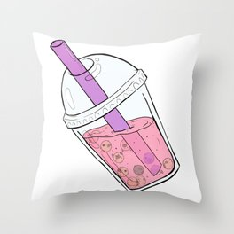 Boba Tea Pugs Throw Pillow