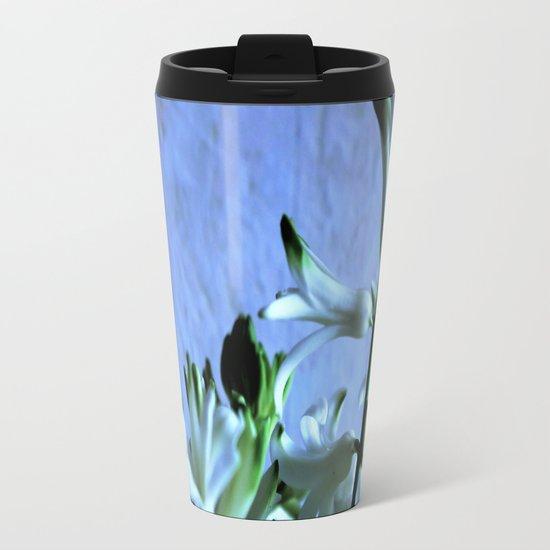 white hyacinthe on light blue background Travel Mug