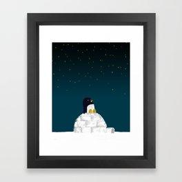 Star gazing - Penguin's dream of flying Framed Art Print