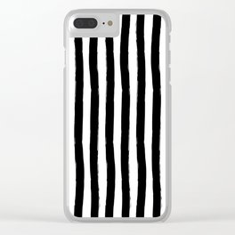 Black and White Cabana Stripes Palm Beach Preppy Clear iPhone Case