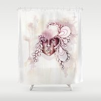 mask Shower Curtains featuring Mask by Adrianna Grężak