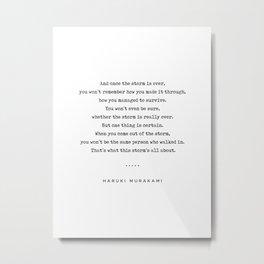 Haruki Murakami Quote 01 - Typewriter Quote - Minimal, Modern, Classy, Sophisticated Art Prints Metal Print