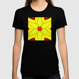 Abstract geometric infinite celestial red star sun and flower burst pattern design in multicolors T-shirt