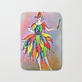 ART DECO LADY IN HARLEQUIN Bath Mat
