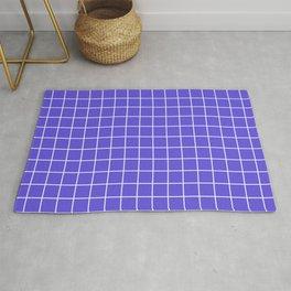 Majorelle blue - blue color - White Lines Grid Pattern Rug