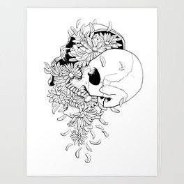 Skull (Pushing Up Daisies) Art Print