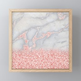 Sparkly Pink Rose Gold Glitter Ombre Bohemian Marble Framed Mini Art Print