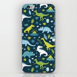 Kawaii Dinosaurs in Blue + Green iPhone Skin