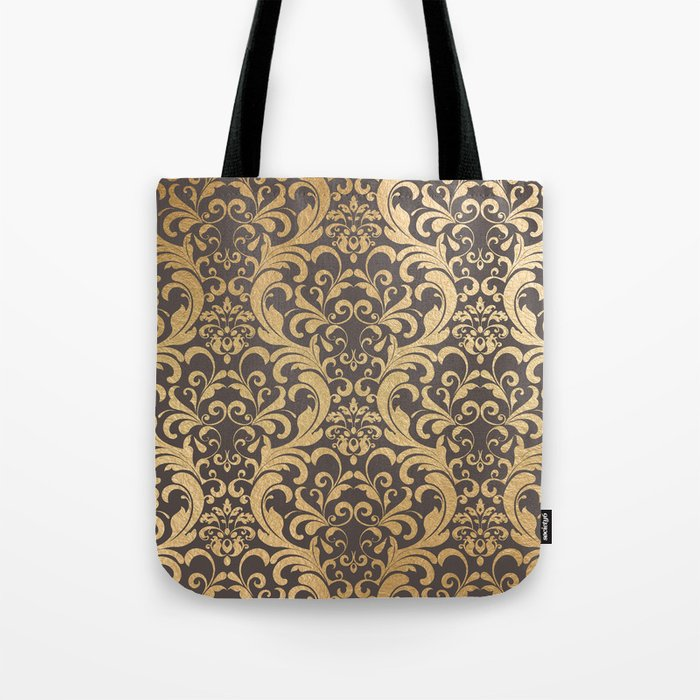 Gold swirls damask #1 Tote Bag