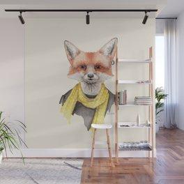 F is for a Foxxy Fox | Watercolor Fox Portrait Wall Mural
