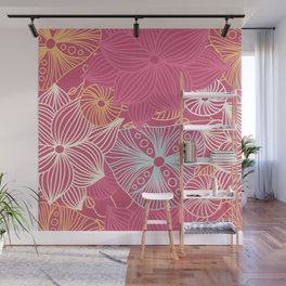 Floral pattern with decorative roses. Retro print with large flower. Wall Mural