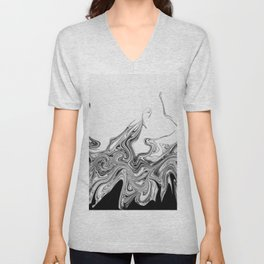 Modern contemporary Black and White Abstract Unisex V-Neck