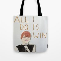emma stone Tote Bags featuring All I do is win, Emma stone  by Thespanishlady