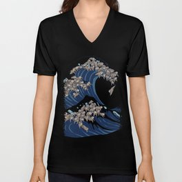 The Great Wave of Sloth Unisex V-Neck