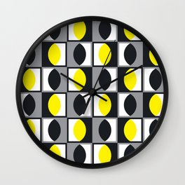 Geometric Pattern 216 (yellow gray curves) Wall Clock