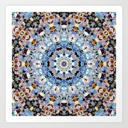 Blue Brown Folklore Texture Mandala Art Print