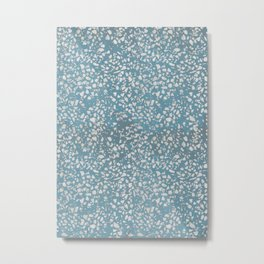 Blue and White Terrazzo Texture Pattern Metal Print