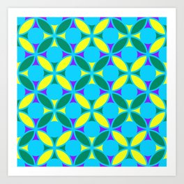 Geometric Floral Circles Vibrant Color Challenge In Bold Purple Yellow Green & Turquoise Blue Art Print