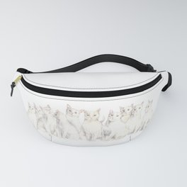 A caboodle of cats - white kitten watercolor Fanny Pack