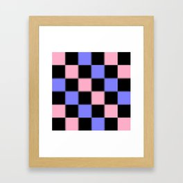 Pink Blue Black CHeckERboarD Framed Art Print