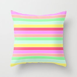 Pastel Rainbow Sorbet Horizontal Deck Chair Stripes Throw Pillow
