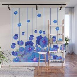 BABY BLUE MORNING GLORIES RAIN ABSTRACT ART Wall Mural