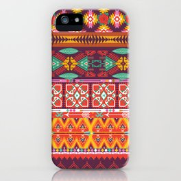 Seamless colorful aztec carpet with birds,flowers and arrow iPhone Case