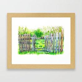 Birds on a fence Framed Art Print
