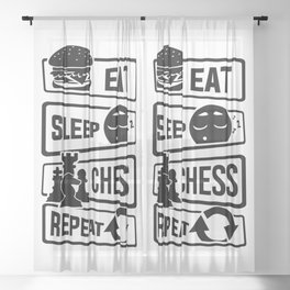 Eat Sleep Chess Repeat - Checkmate Checkerboard Sheer Curtain