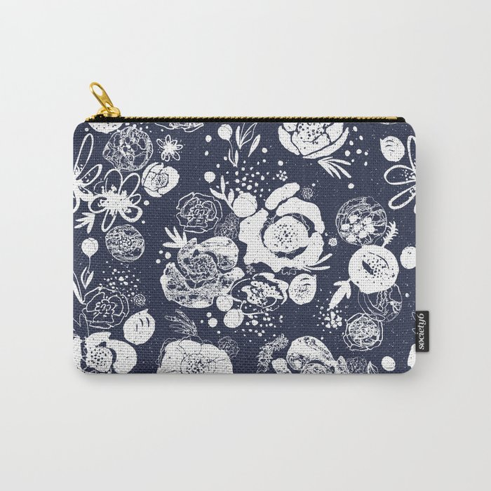 Summer Garden Indigo Floral Pattern Carry-All Pouch
