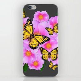 PINK ROSES YELLOW MONARCH  CHARCOAL ART iPhone Skin