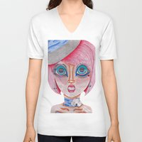 poker V-neck T-shirts featuring poker face by Scenccentric Creations