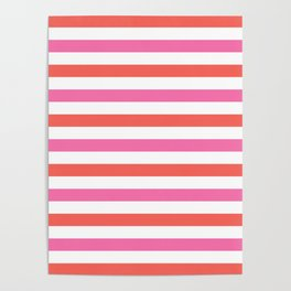 Bright coral, pink and white horizontal stripes Poster
