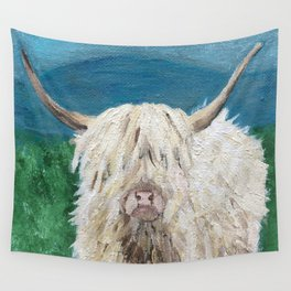 A Sweet Shaggy Highland Coo Wall Tapestry
